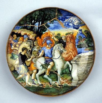 <b>アレクサンドロス大王図皿(マジョリカ陶器) イタリア 16世紀</b> ※天理参考館所蔵