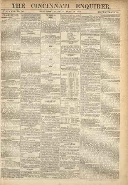 <b>『シンシナティ・エンクワイアラー』</b> 1873年5月1日-8月31日号