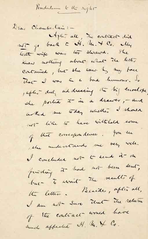 <b>B.H. チェンバレン宛書簡</b> 1894年3月4日付